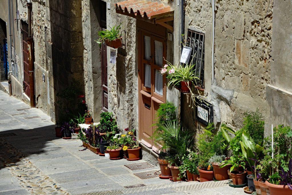 una via del centro storico di cagliari con il dettaglio di una abitazione e le piante in basso a sinistra Diccius Sardi (3)