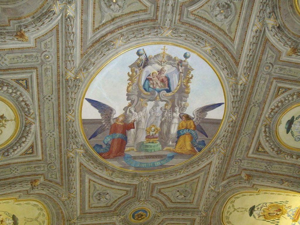 dettaglio di un affresco murale Biblioteca Universitaria Cagliari