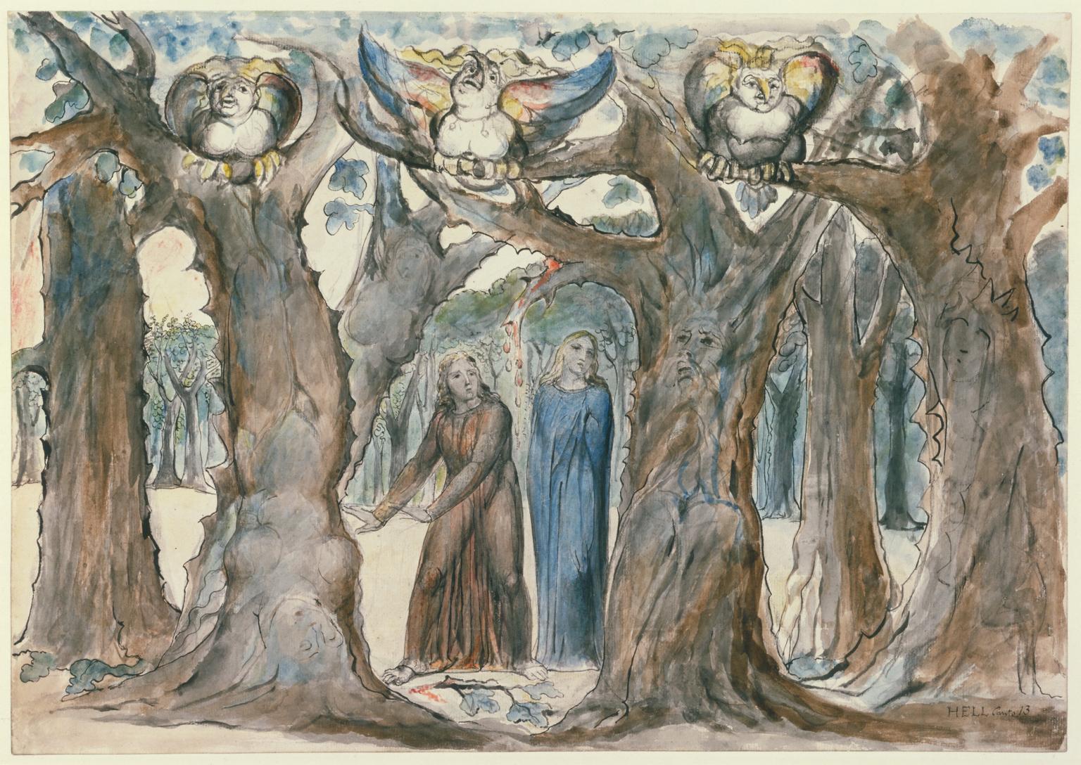 William Blake dipinse l'incontro tra Dante e Pier delle Vigne descritto nella Commedia.