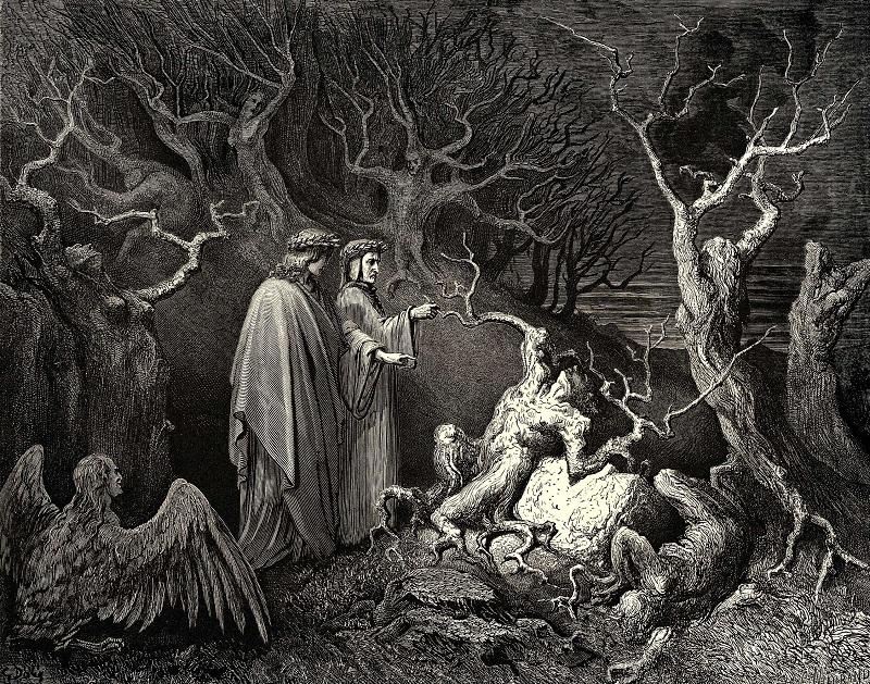 Pier delle Vigne e Dante nel canto XIII dell'Inferno.
