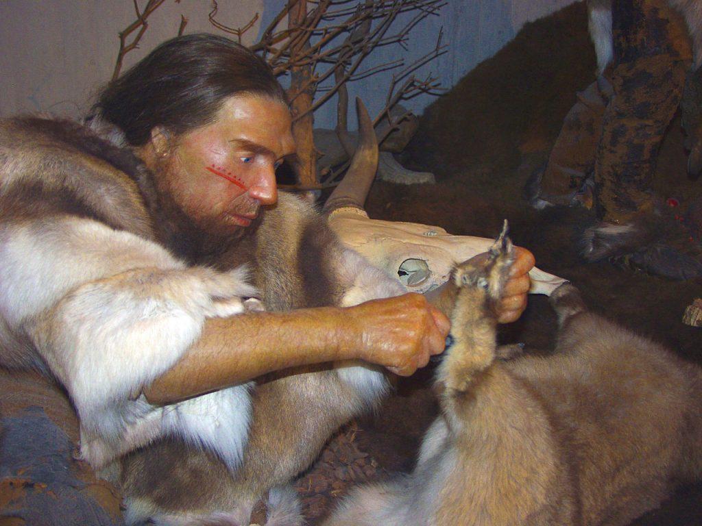riproduzione di un uomo di Neanderthal