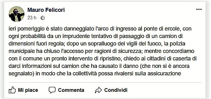 Il post facebook di Mauro Felicori sul Ponte di Ercole