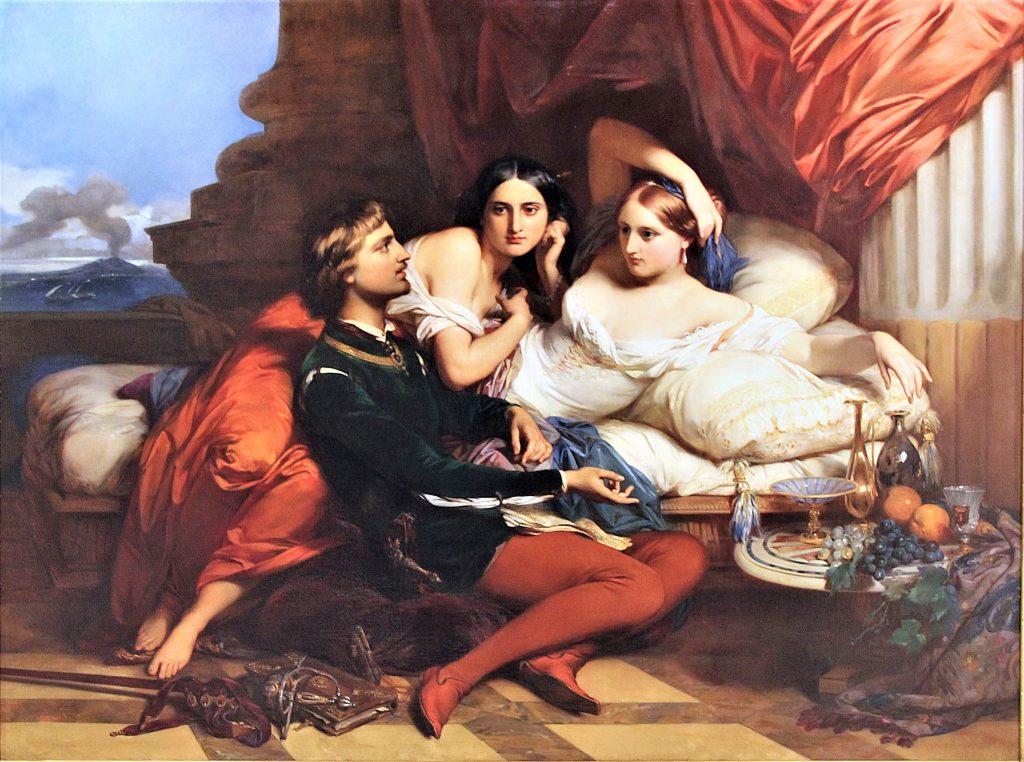 giovanna I di Aversa con Boccaccio mentre legge il Decamerone