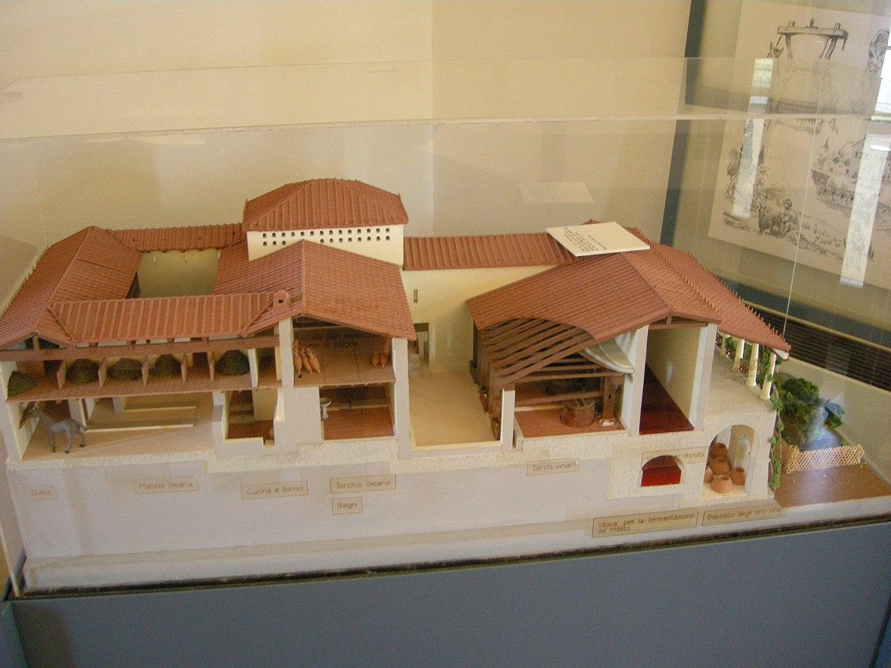 Ricostruzione della villa di Settefinestre a Orbetello (Museo archeologico di Rosignano Marittimo, foto di I, Sailko)