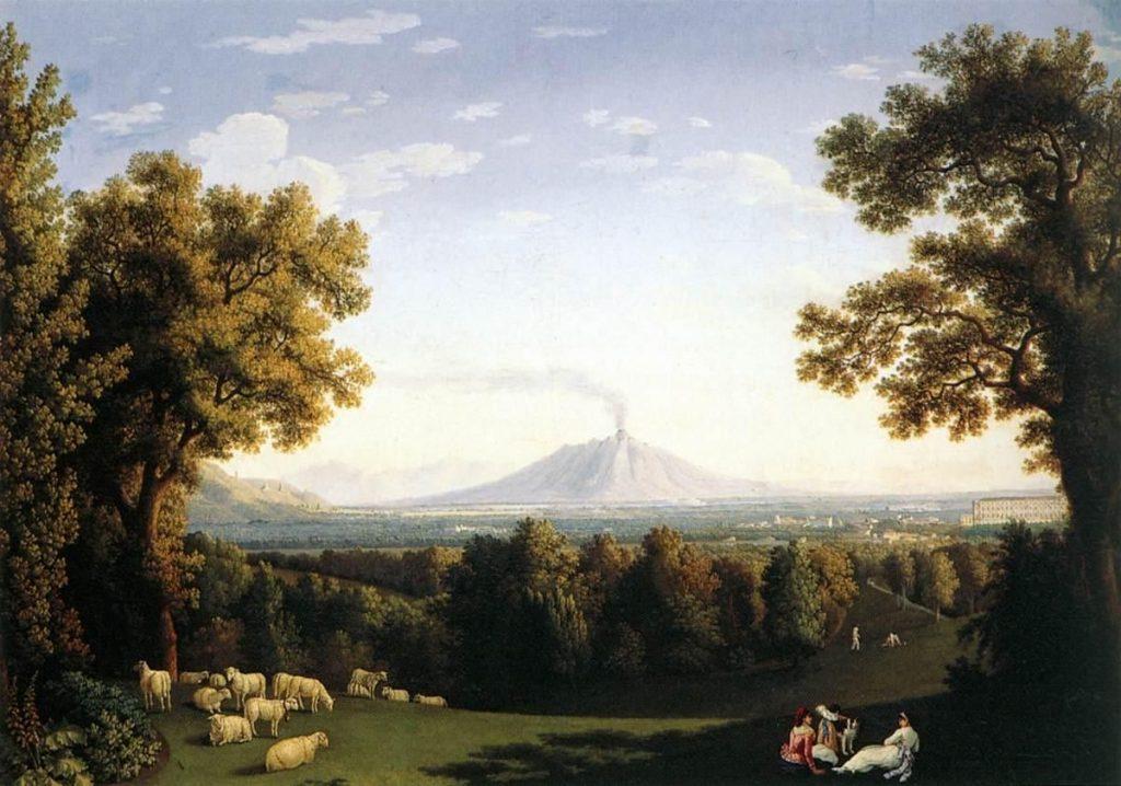 veduta del Vesuvio dai Giardini della Reggia: Hackert