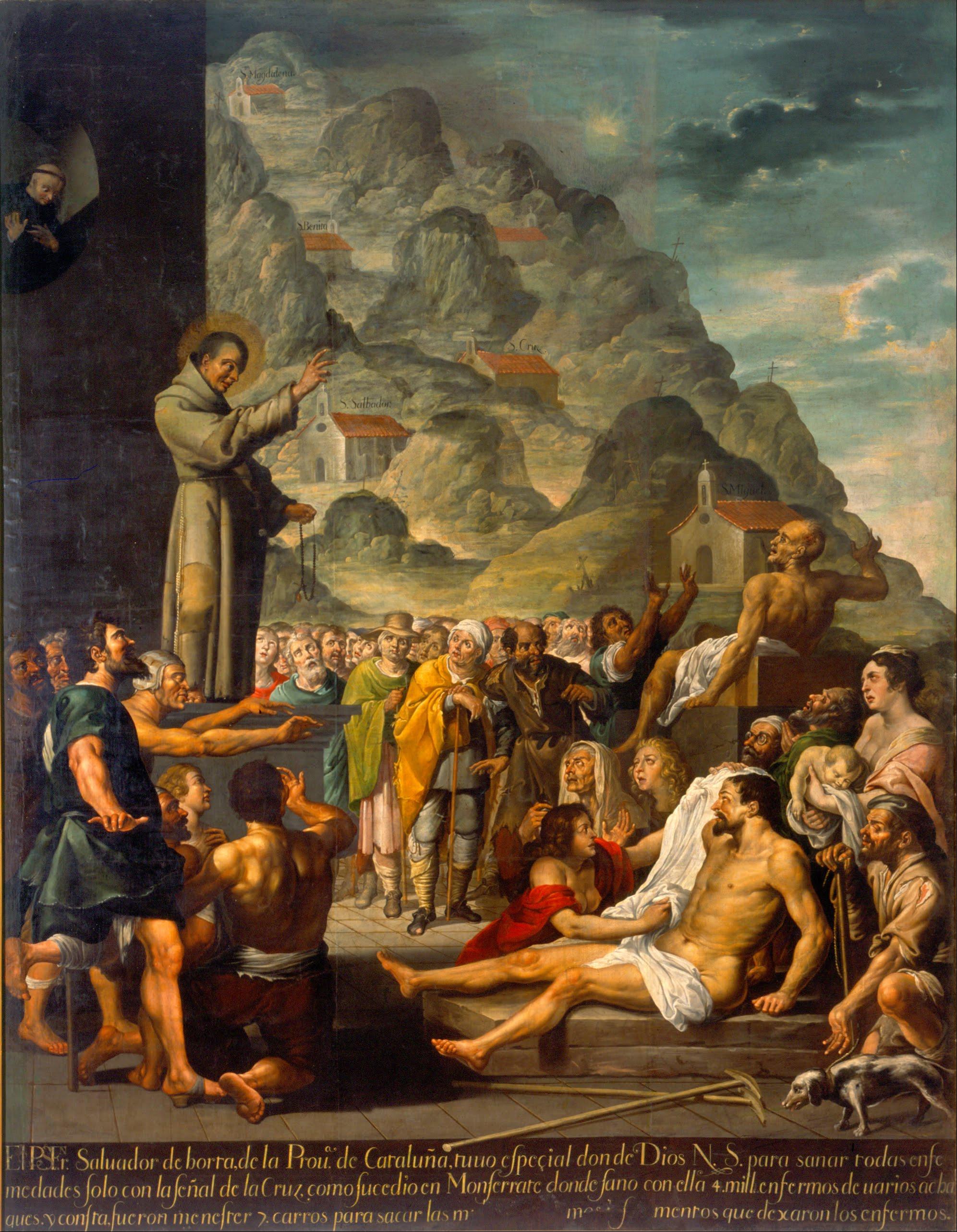 Un dipinto che raffigura Fra Salvatore da Horta mentre compie un miracolo
