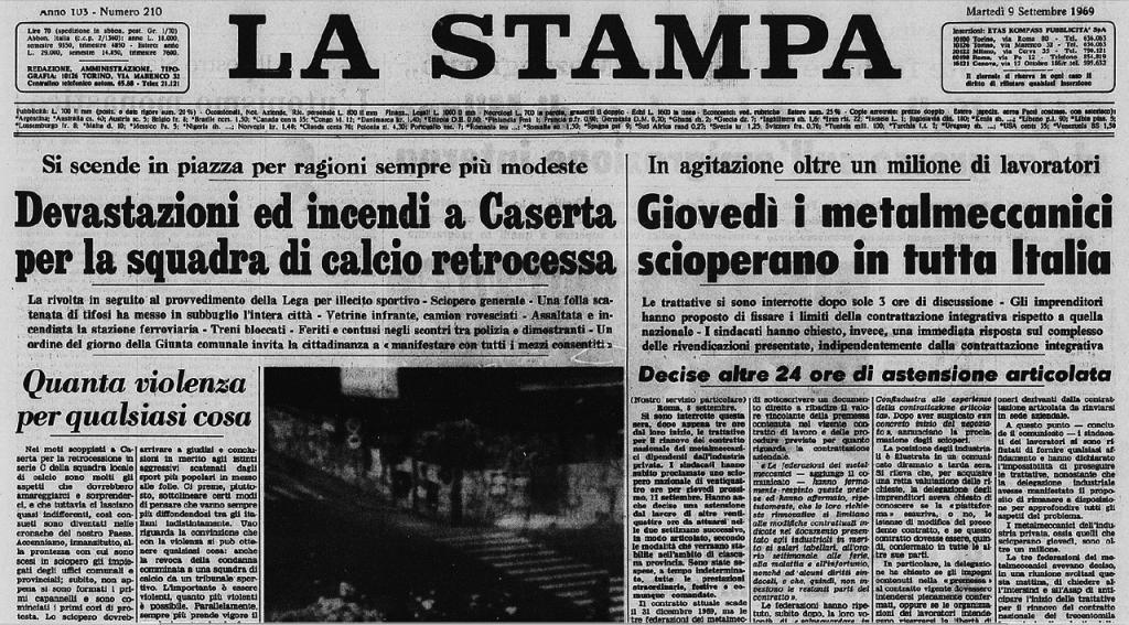 La Prima Pagina Della Stampa Di Torino Del 9 Settembre 1969 Riporta Gli Eventi Accaduti Il Giorno Prima A Caserta