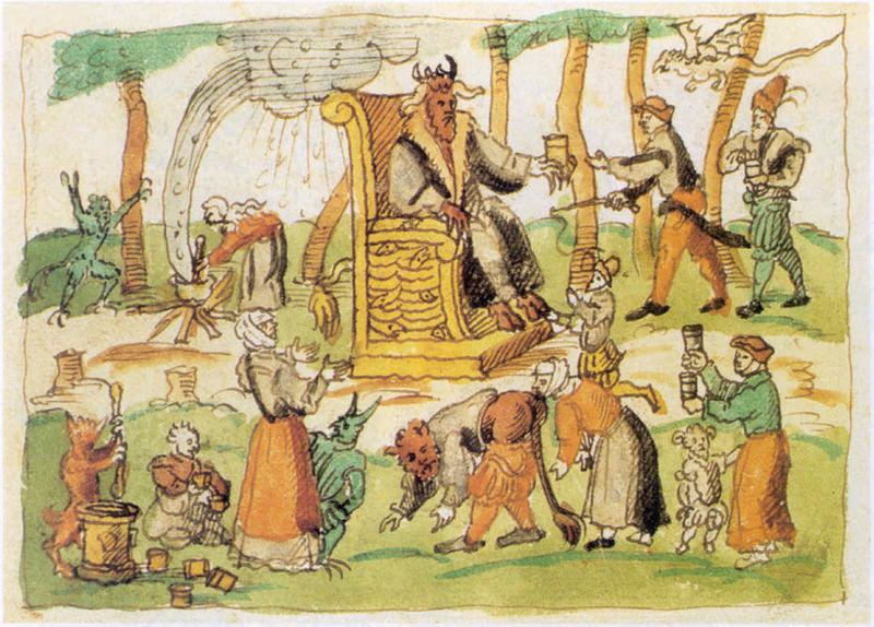 Vignetta dell'epoca, in cui viene raffigurato un sabba tra streghe