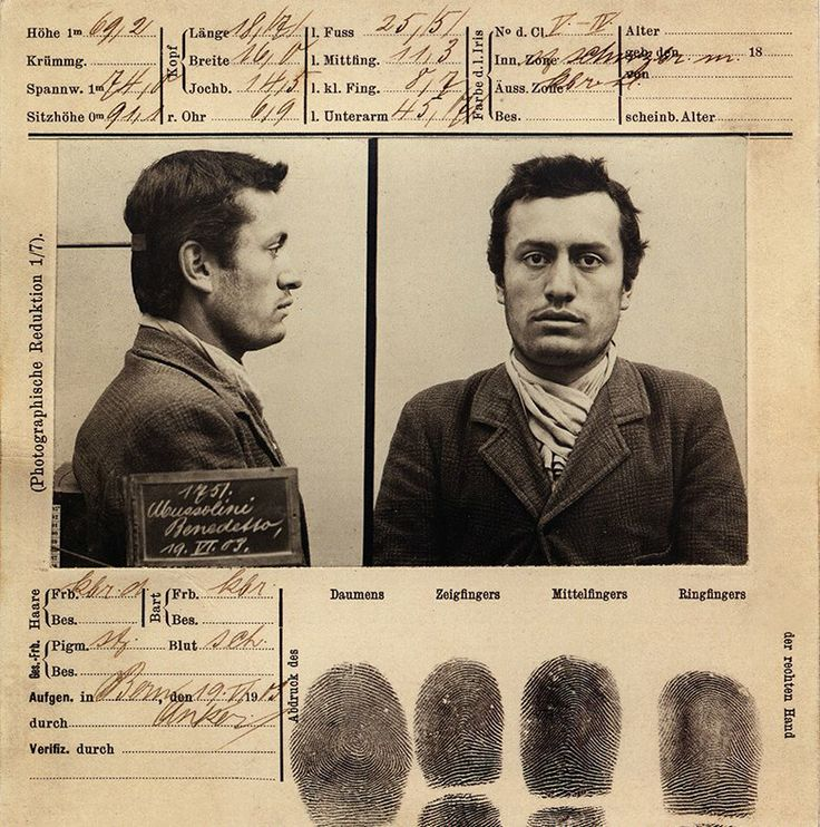 Foto segnaletica di Benito Mussolini