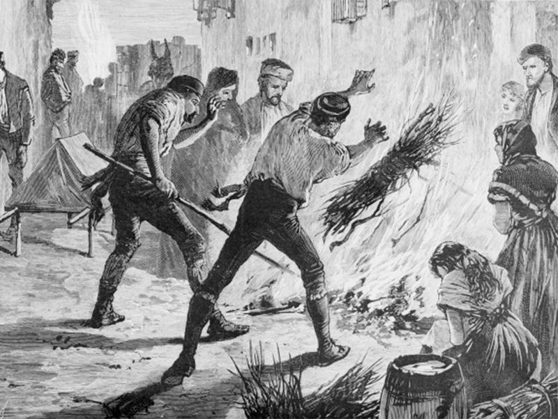 Festa di Santa Matrona di San Prisco - Raffigurazione del colera nelle strade, durante l'epidemia dell'800