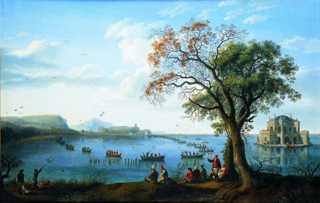 I Borbone e i cani: Caccia Sul Lago Fusaro Di Ph. Hackert