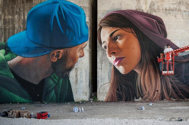 Il Bacio Concetto Di Street Art