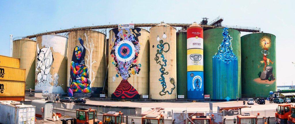 Otto artisti internazionali hanno lavorato in maniera corale per la realizzazione dei murales