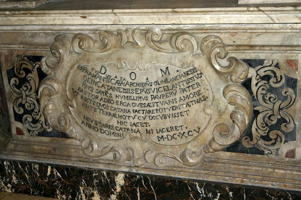 Terremoto del 1693 - tomba di Francesco Carafa