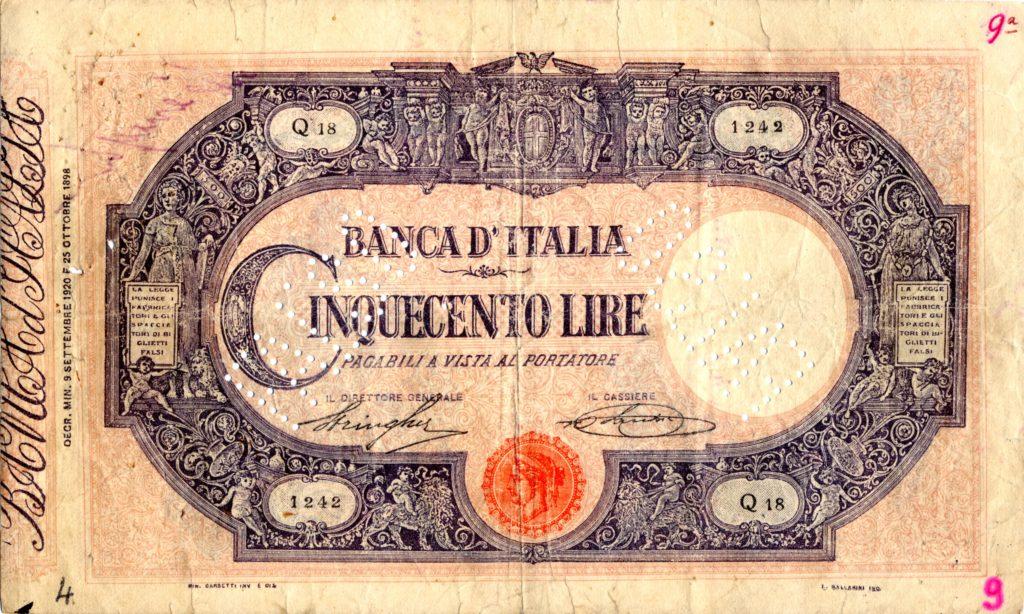 Le 500 lire contraffatte da Paolo Ciulla (fonte: http://www.stefanopoddi.it/Pdf/Paolo%20Ciulla%20IIa%20parte.pdf)