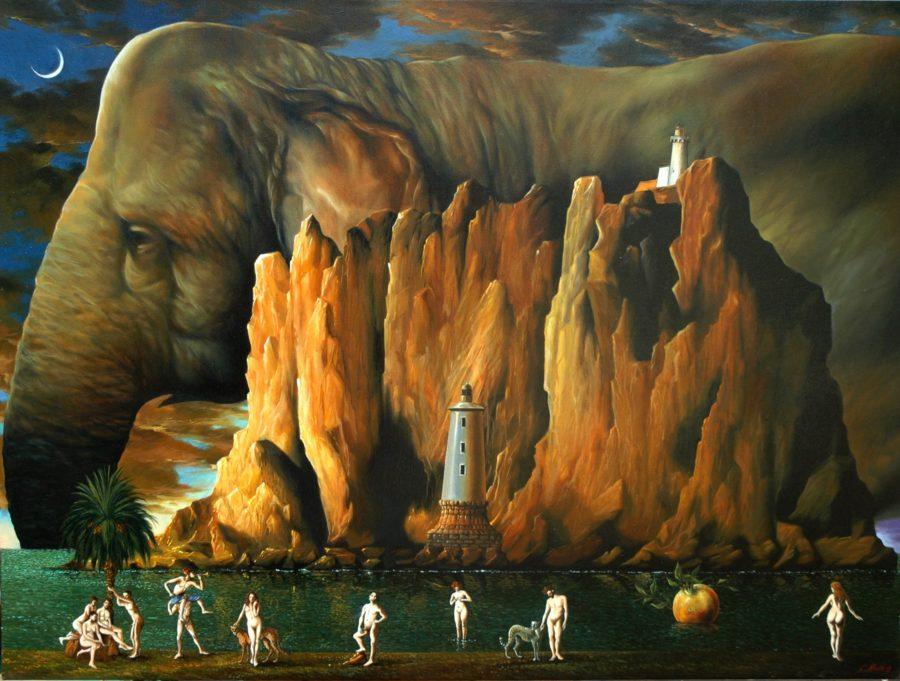 Una delle pitture in olio su tela di Salvo Russo: Notturno