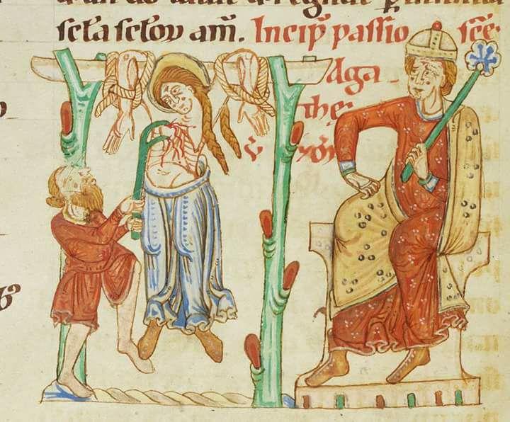 Manoscritto miniato del martirio di Sant' Agata nel Códex Bodmer 127, ca. 1170/1200.