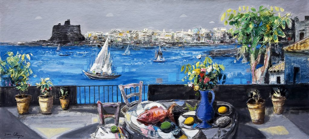 Una delle opere realizzate dal pittore catanese Jean Calogero, raffigurante il suggestivo panorama di Acicastello.