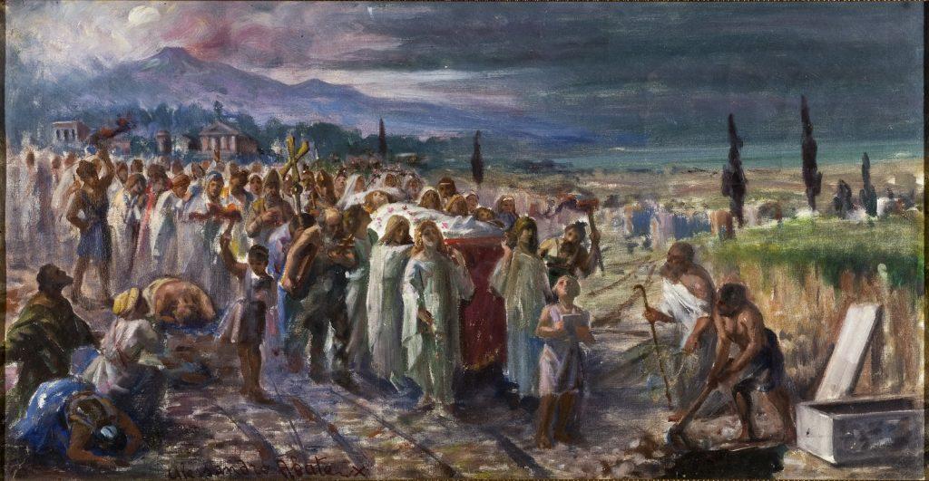 il seppellimento di sant'agata, olio su tela
