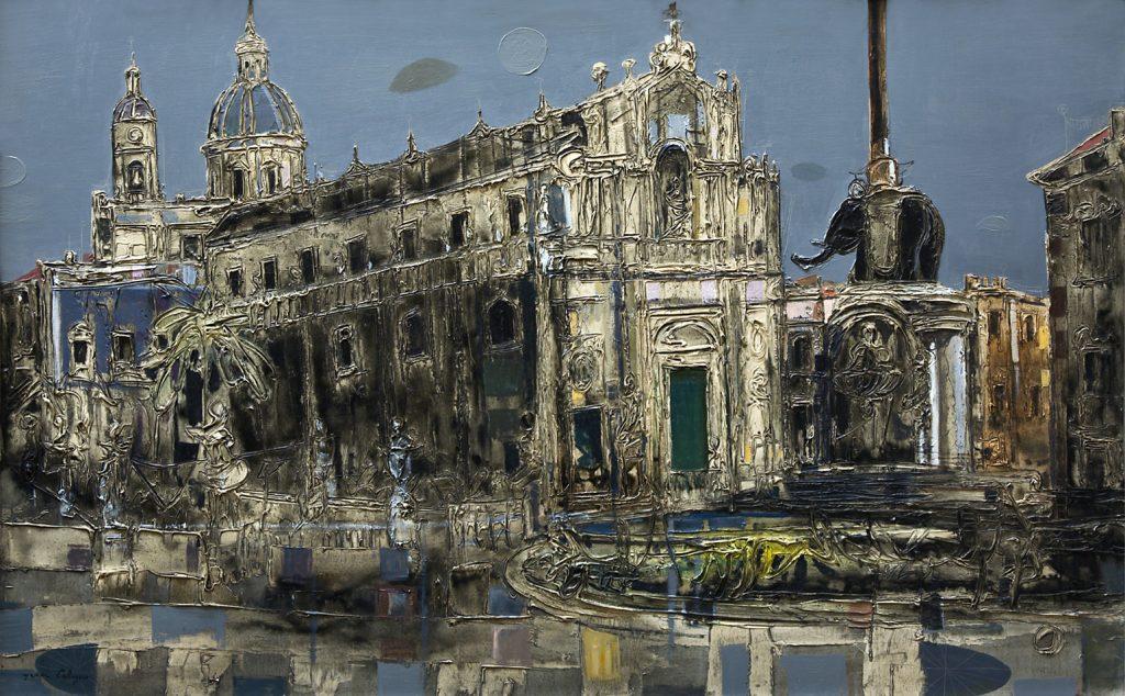 Jean Calogero annovera fra i soggetti ritratti, la bellissima e suggestiva piazza Duomo, per rimarcare il legame con Catania.