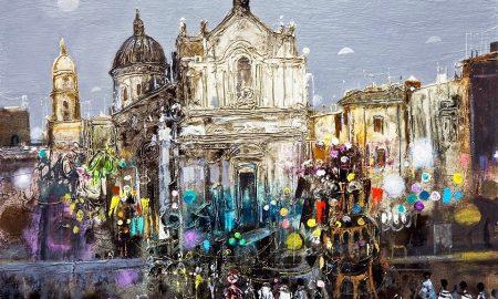 """Tutti devoti tutti"""" è l'opera che Jean Calogero ha dedicato alla festa di Sant'Agata. E' stata donata dall'artista nel 2010 e si trova presso il Museo Diocesano in piazza Duomo, nella Sala Polifunzionale """"Archimede Cirinnà""""."""
