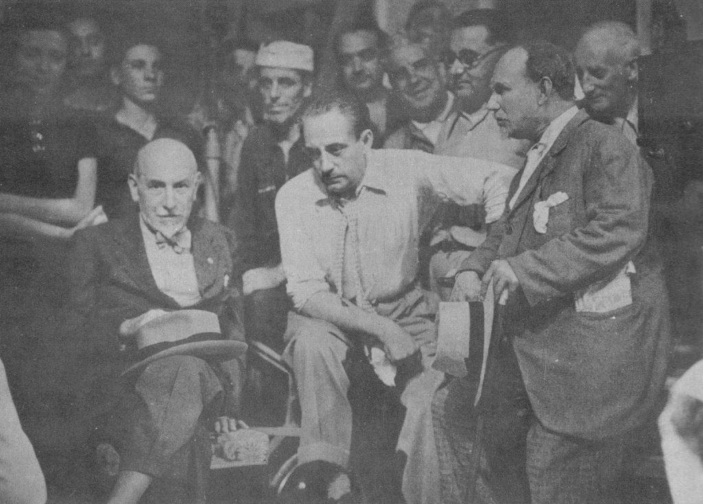 Lo scrittore Luigi Pirandello con Gennaro Righelli e Angelo Musco.