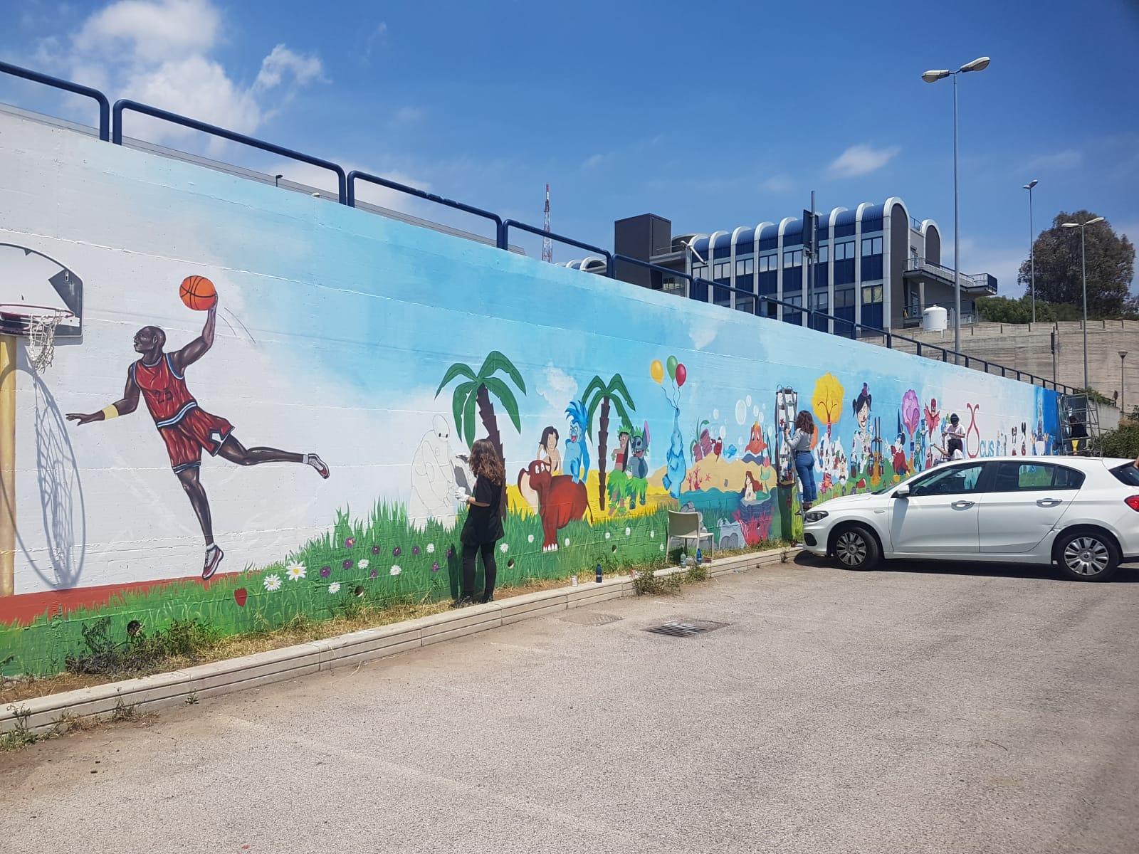 murale delle favole presso casa d'accoglienza Ibiscus