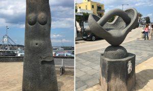 Statua in pietra lavica ad Acitrezza