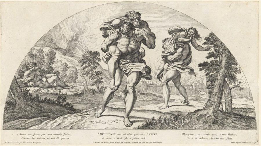 I Fratelli Pii protagonisti di un miracolo. Fonte foto: Pietro Aquila, The Catanian Brothers After Annibale Carracci