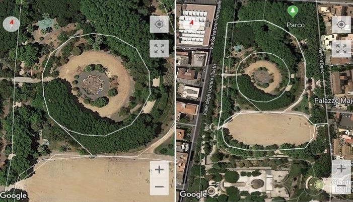 Possibili percorsi per i runner che vogliono correre a Catania, all'interno della Villa bellini