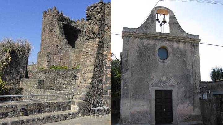 Chiesa di Nostra Signora dell'Aiuto e terrazza del Castello di Aci Castello