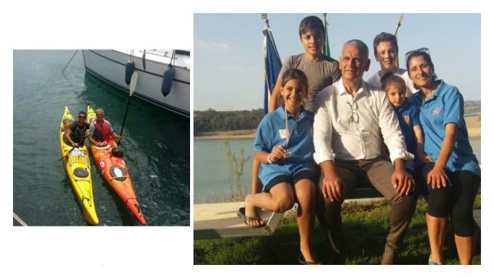 Mario Pandolfo con i ragazzi che segue per la Canoa Catania