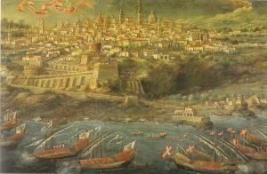 Il passaggio della flotta don Redin davanti ad Acireale in un dipinto di Giacinto Platania, oggi conservato alla Pinacoteca Zelantea. Foto di: Maria Lo Sposo
