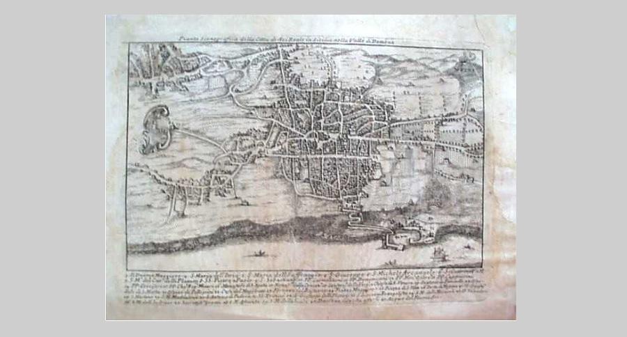 Antica piantina territoriale di Acireale e dintorni. Foto di: Sfera Panoramica - città metropolitana di ct