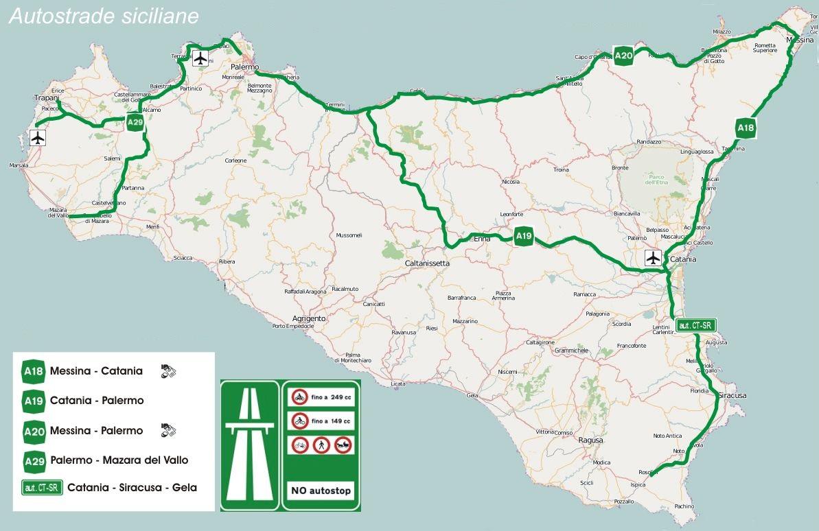Mappa Autostrade Sicilia
