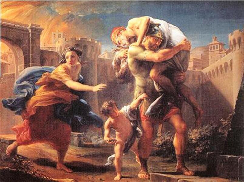 Enea fugge da Troia