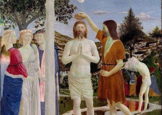 Piero Della Francesca Battesimo Di Cristo da parte di San Giovanni Battista, uno dei santi più raffigurati nell'arte.