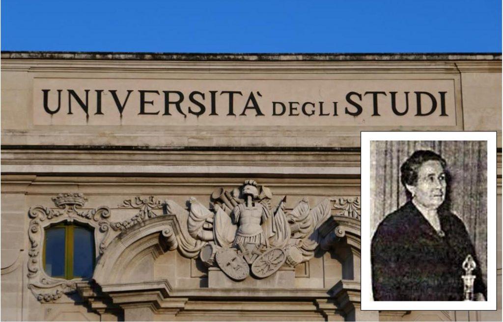 primo piano dell'università degli studi di Catania con in basso a destra una piccola foto in bianco e nero di Carmelina Naselli