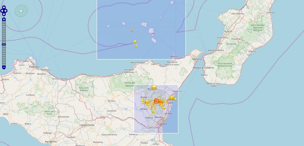 150 sensori del terremoto - cartina geografica della calabria e della Sicilia che evidenzia l'area colpita dai terremoti