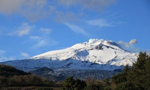 Etna innevata vista da Nicolosi