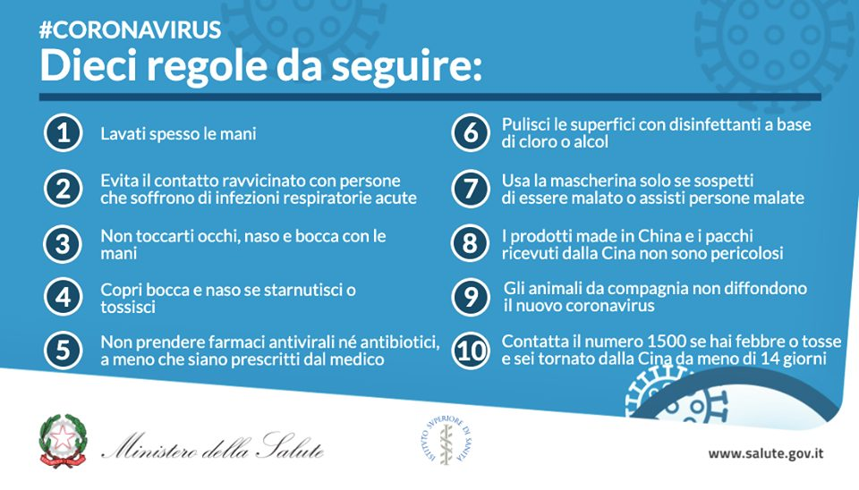 Decalogo Coronavirus- trasmesso dal Ministero della Saluta