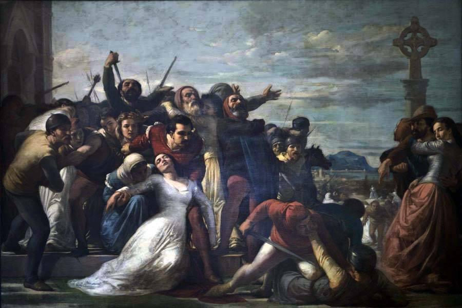 Il capolavoro di Michele Rapisardi, riconosciuto universalmente è i Vespri Siciliani, del 1864, custodito anch'esso a Castello Ursino. Raffigura uno dei momenti cruciali della storia siciliana. Il pittore rappresenta la scena più dolorosa e piena di pathos