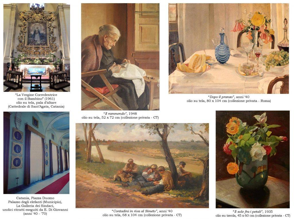 In queste opere di Emanuele Di Giovanni, sparse in collezioni pubbliche e private, si nota la grande qualità artistica e culturale del pittore apprezzato dalla borghesia catanese