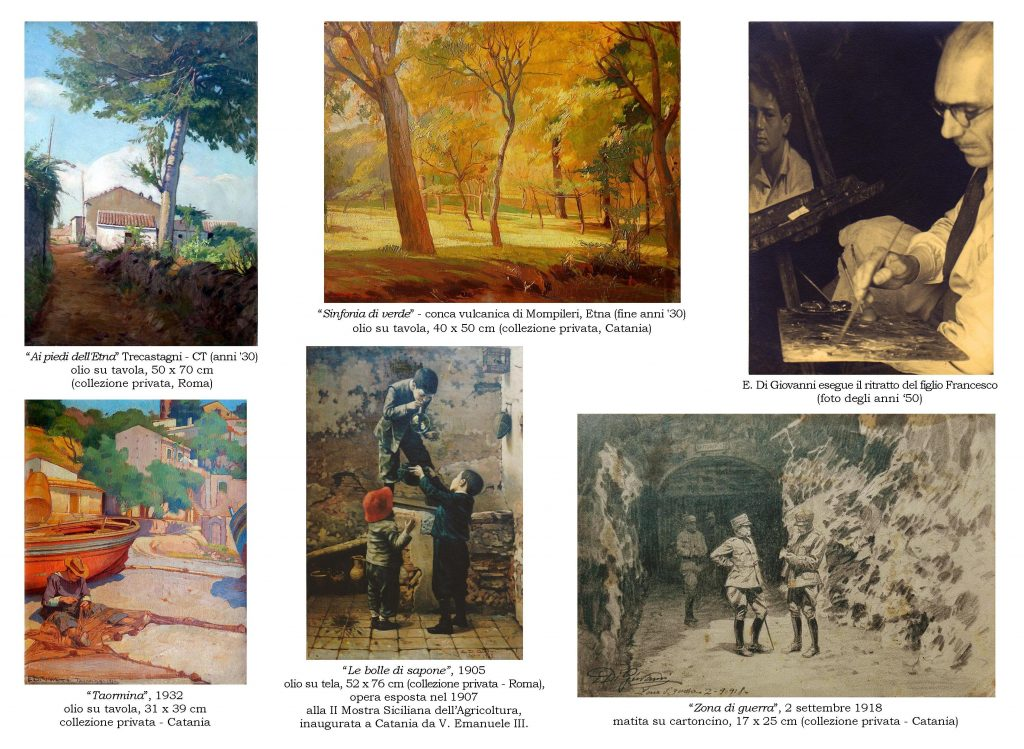 In foto, alcune delle opere dell'artista catanese Emanuele Di Giovanni di cui si nota la versatilità nell'uso di tecniche e tematiche diverse.