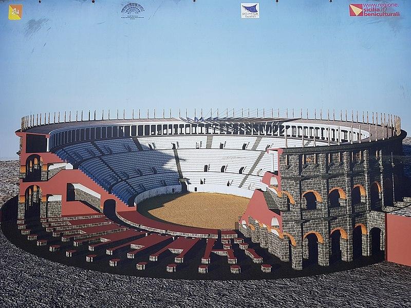 Modello virtuale di come doveva apparire l'anfiteatro con tutti i suoi elementi