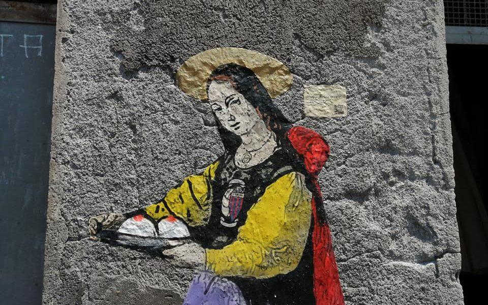 la Sant'Agata realizzata da Tvboy alla pescheria di Catania