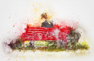 Panchine colorate: ragazza seduta
