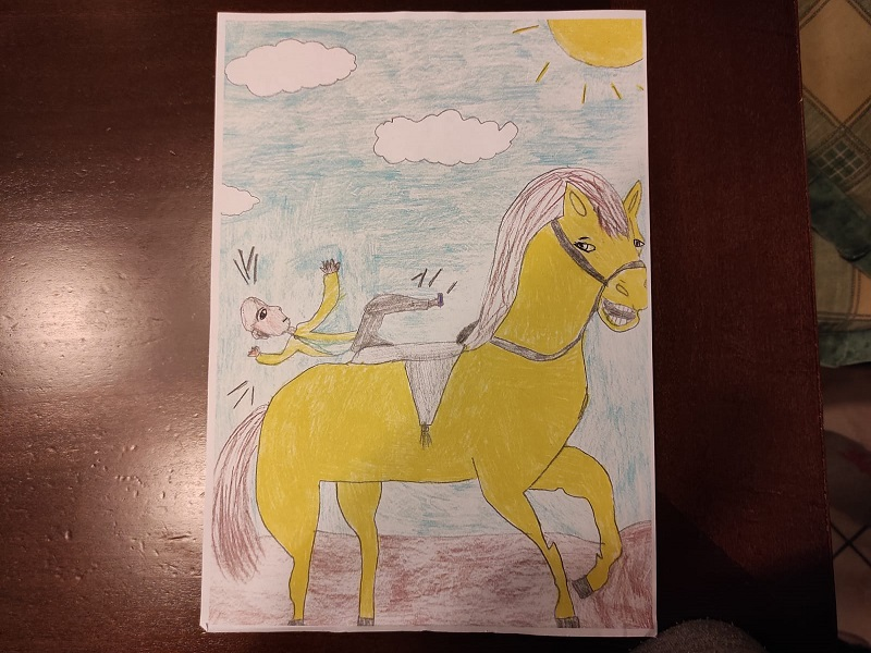 Ickabog: un cavallo giallo ed un uomo che cade - Foto: Cavaleri Francesca Agata
