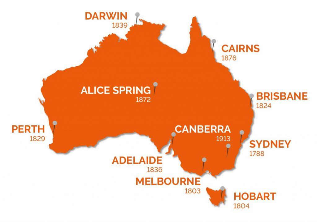 Catania e Adelaide: una mappa delle città più importanti dell'Australia