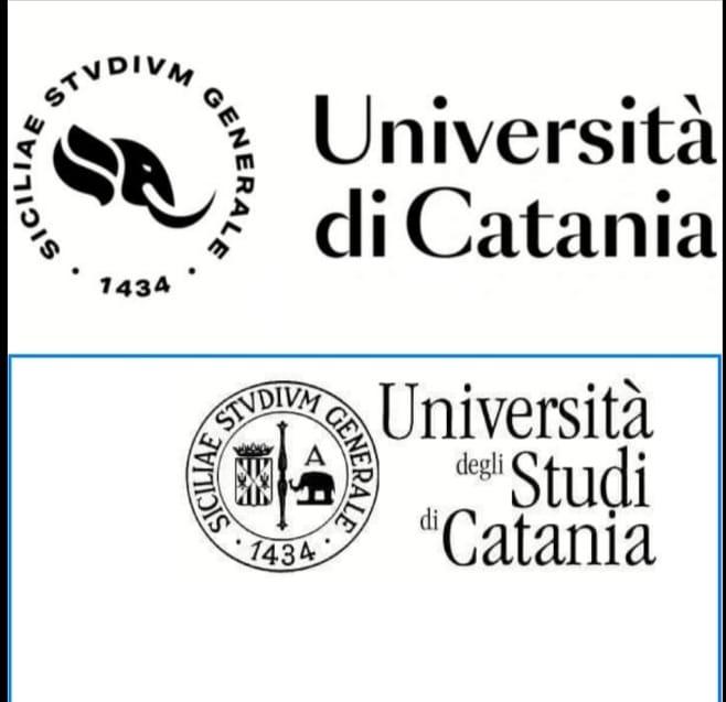 Nuovo logo e vecchio logo messi a confronto: è sparita la dicitura Università degli Studi di Catania, sostituita da Università di Ctania per avvicinare ateneo e città